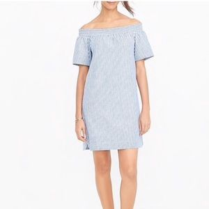 NWT J. Crew Off the Shoulder Stripe Cotton Dress